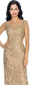 Annabelle 8668-Gold Sleeveless Pencil Dress With Brocade Style Design