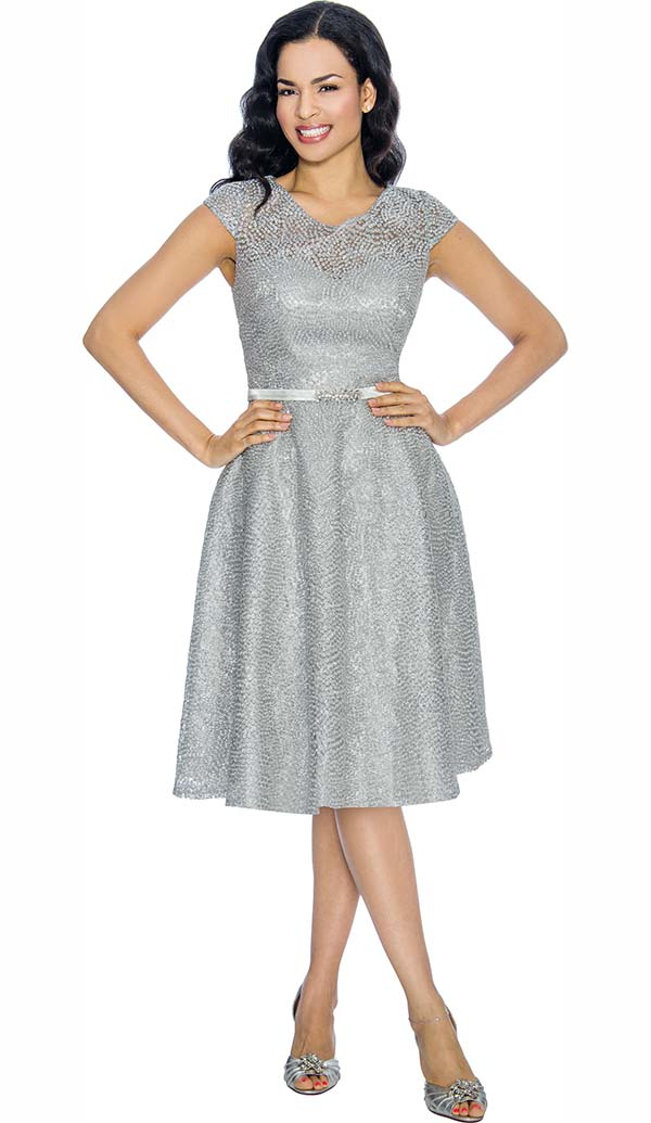 Annabelle 8669-Silver Cap Sleeve Bell Dress With Vee Neckline