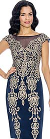 Clearance Annabelle 8673-Navy Cap Sleeve Pencil Dress With Elaborate Applique