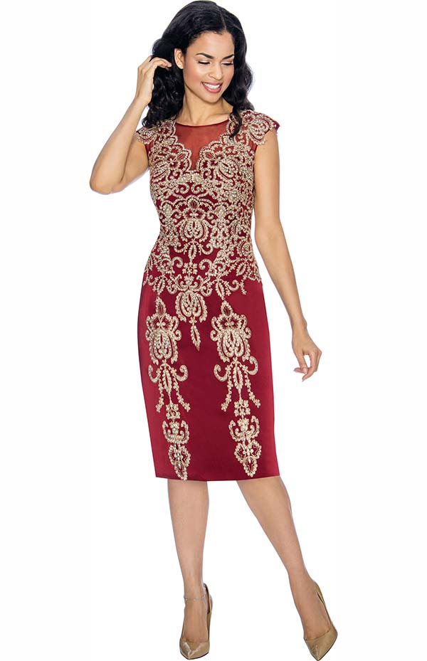 Annabelle 8673-Wine Cap Sleeve Pencil Dress With Elaborate Applique