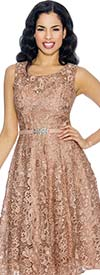 Annabelle 8674-Bronze Sleeveless Lace Tea Length Dress