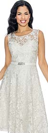 Annabelle 8674-White Sleeveless Lace Tea Length Dress