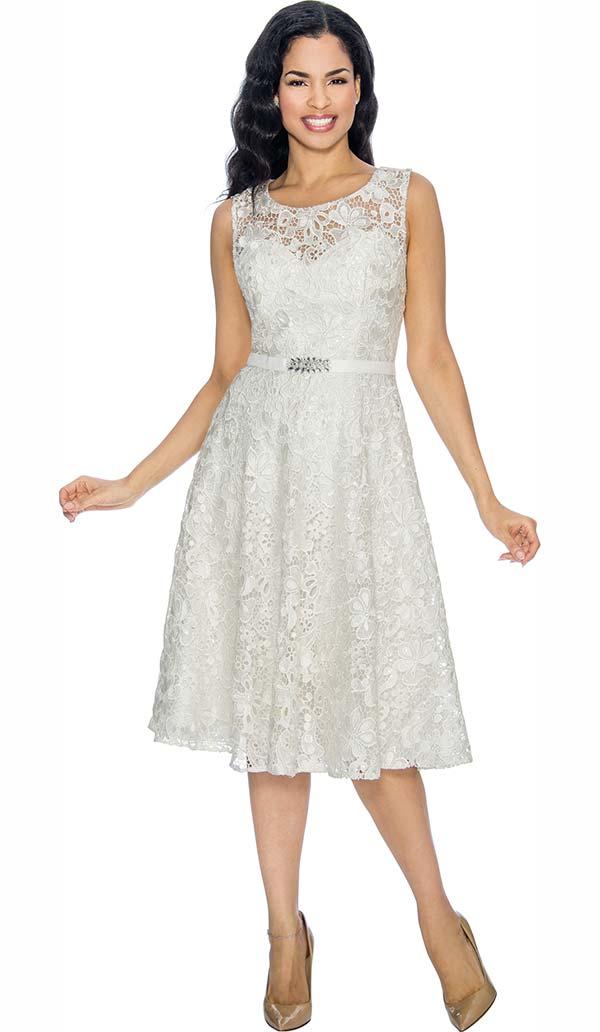Annabelle 8674-White Sleeveless Lace Tea Length Dress