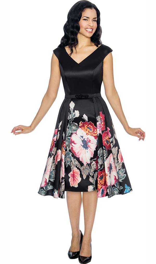 Annabelle 8675 Floral Printed Cap Sleeve Flared Dress With Vee Neckline