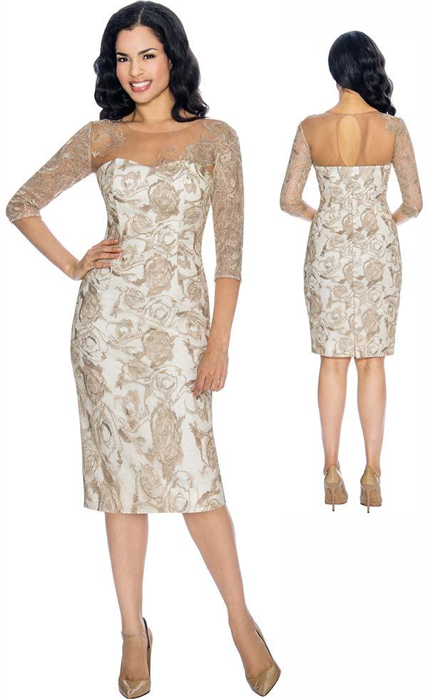Annabelle 8677 Three Quarter Sleeve Dress With Lacy Illusion Design Neckline