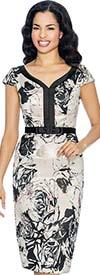 Annabelle 8678 Sweetheart Neckline Floral Print Capsleeve Dress