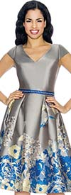 Annabelle 8679-Silver Cap Sleeve Tea Length Dress With Floral Print Design