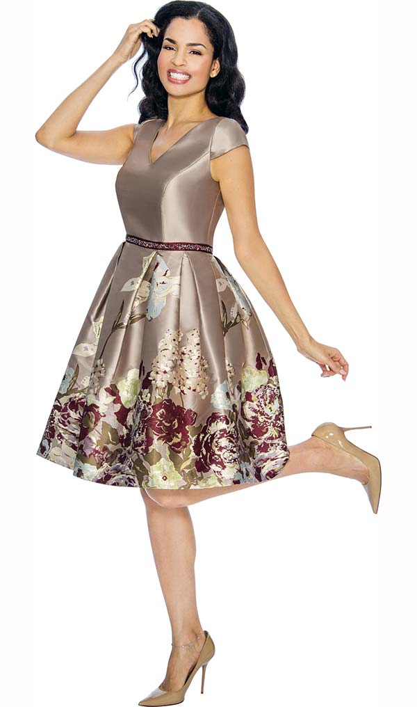 Annabelle 8679-Tan Cap Sleeve Tea Length Dress With Floral Print Design