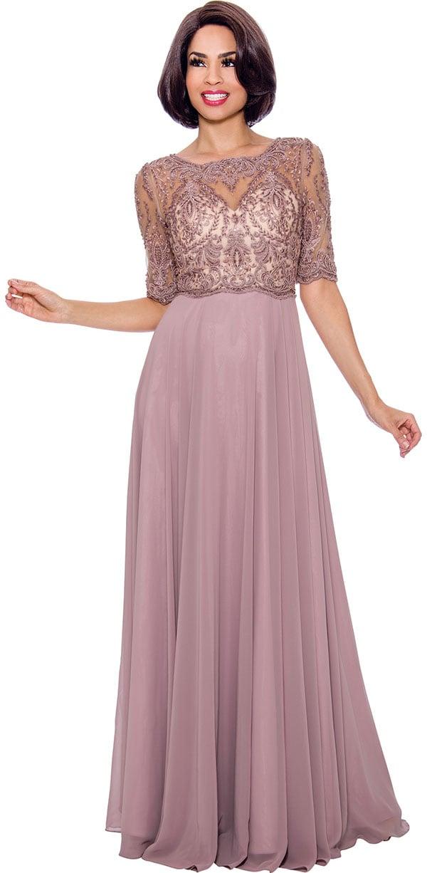 Annabelle 8648 Half Sleeve Floor Length Dress With Lace Illusion Bodice
