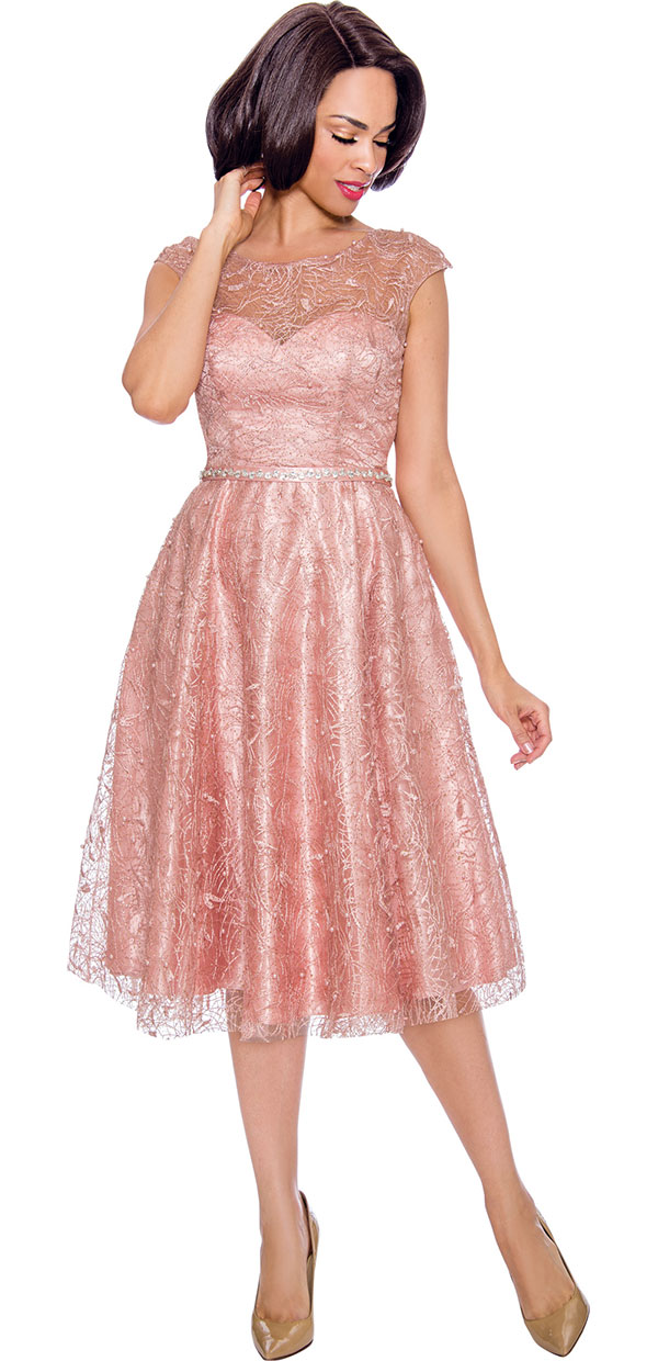 Annabelle 8662 Cap Sleeve Pleated Dress With Lace Design