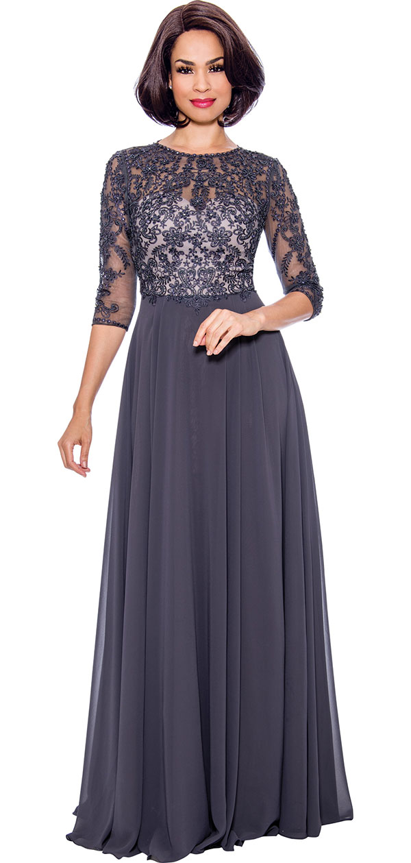 Annabelle 8680 Pleated Floor Length Dress With Lacy Design Bodice
