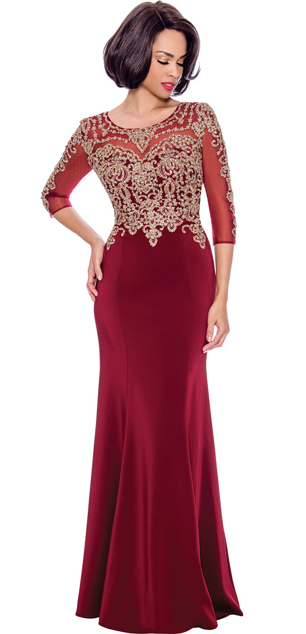 Annabelle 8682-Burgundy - Boat-Neck Floor Length Dress With Elaborate Bodice