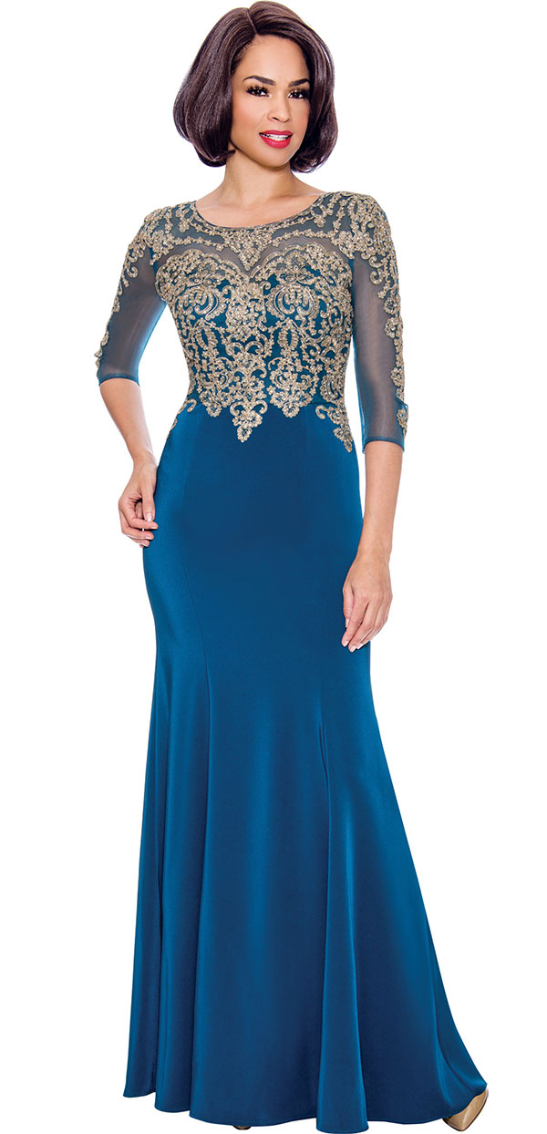 Annabelle 8682-Teal - Boat-Neck Floor Length Dress With Elaborate Bodice