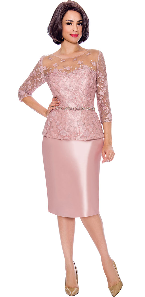 Annabelle 8689 Three Quarter Sleeve Dress With Embellished Waistline And Lace Illusion Detail
