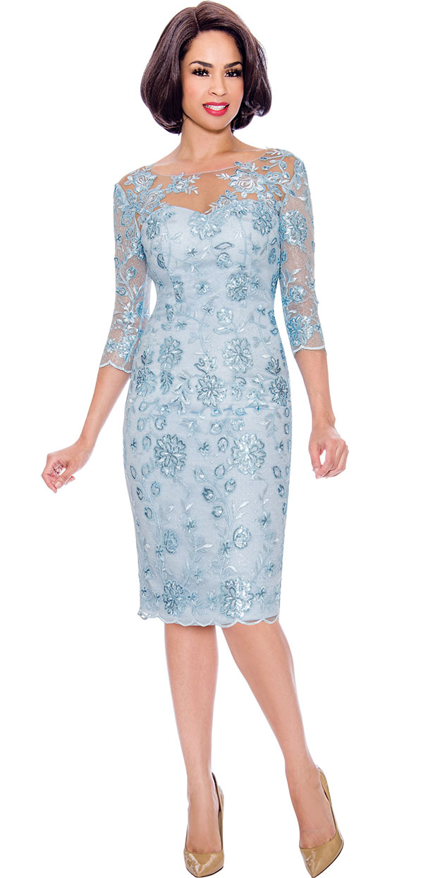 Annabelle 8712 - Three Quarter Sleeve Dress With Floral Lace & Mesh Design