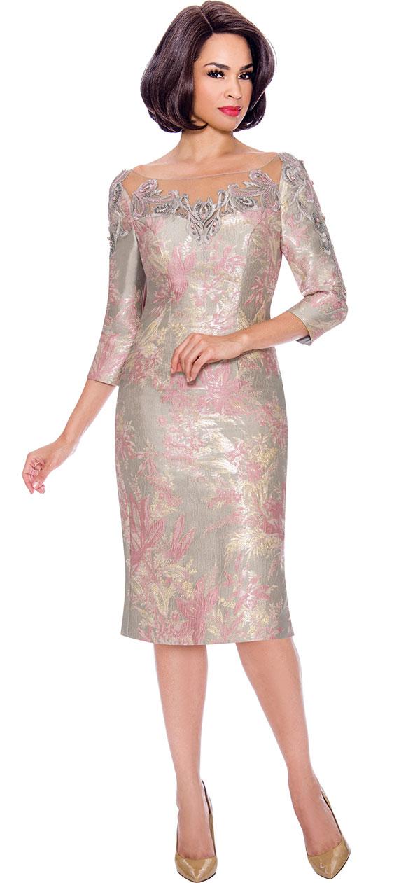 Annabelle 8714 - Floral Print Three Quarter Sleeve Sheath Dress With Illusion Applique Neckline