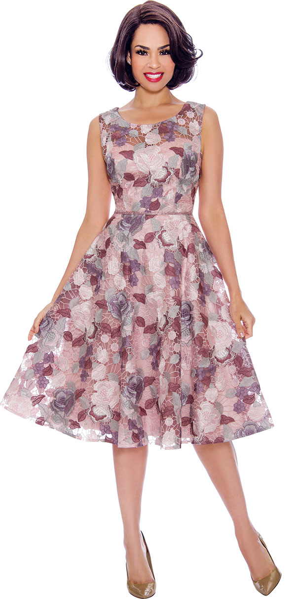 Annabelle 8715 - Sleeveless A-Line Bell Dress With Floral Design