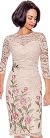Annabelle 8717 - Three Quarter Sleeve Pencil Dress With Floral Lace Design