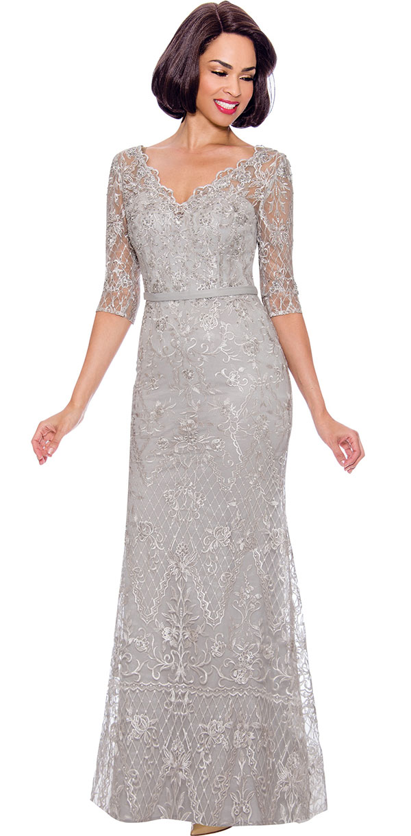 Annabelle 8719 - Lace Floor Length Dress With Scalloped Neckline Design