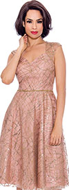Annabelle 8721-Rose - Sleeveless Dress With Diamond Style Neckline