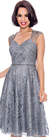 Annabelle 8721-Silver - Sleeveless Dress With Diamond Style Neckline