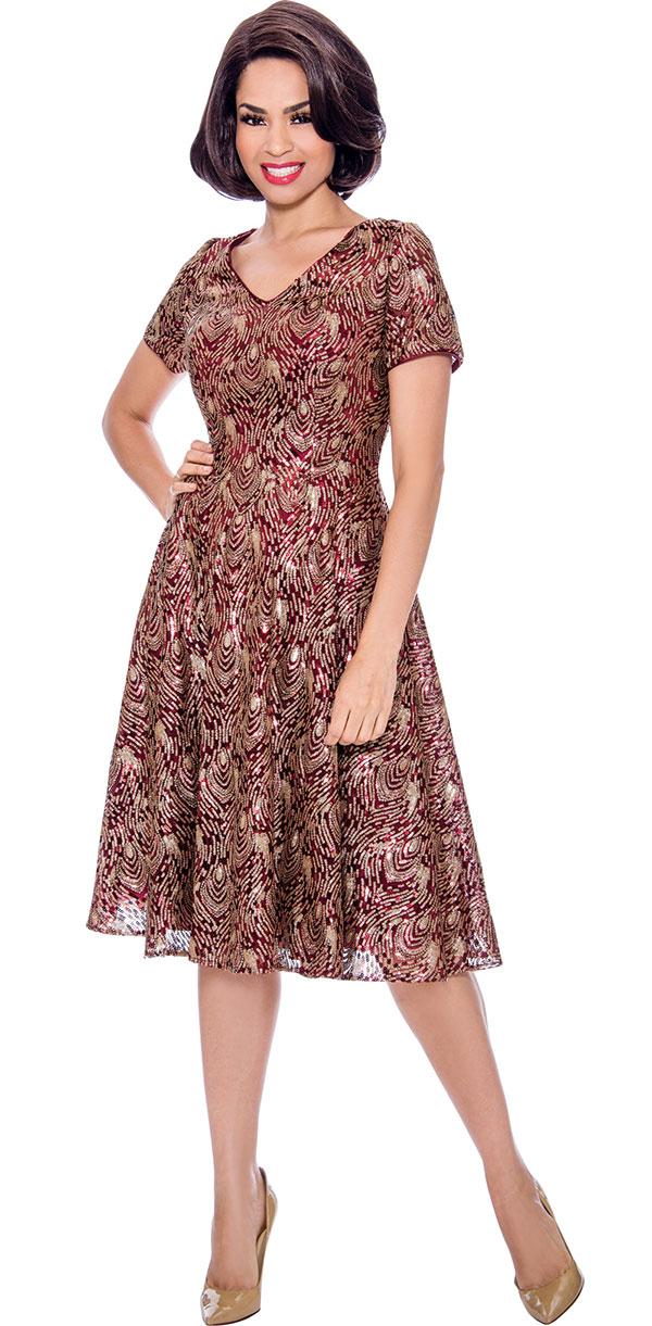 Annabelle 8723-Wine - Short Sleeve Vee-Neck A-Line Dress