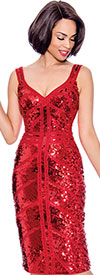 Annabelle 8724-Red - Womens Dress With Sweetheart Neckline And Sequin Accents
