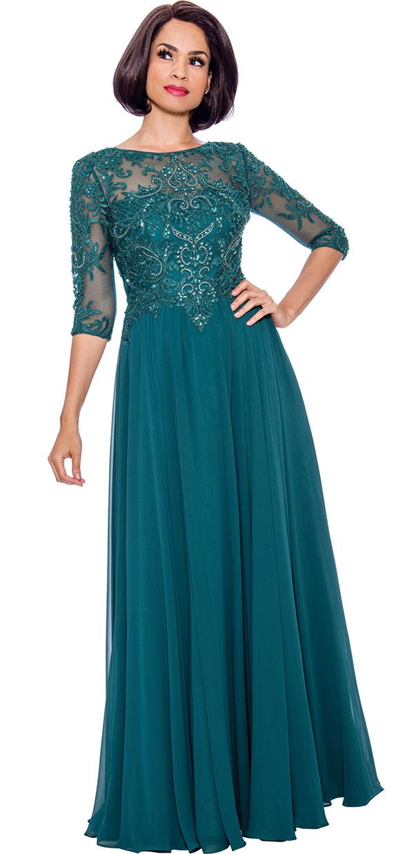 Annabelle 8725 - Pleated Floor Length Dress With Lacy Design Bodice
