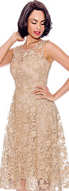 Annabelle 8727-Champagne - Sleeveless Dress With Lace & Pleated Mesh Design