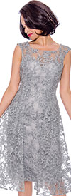 Annabelle 8727-Silver - Sleeveless Dress With Lace & Pleated Mesh Design