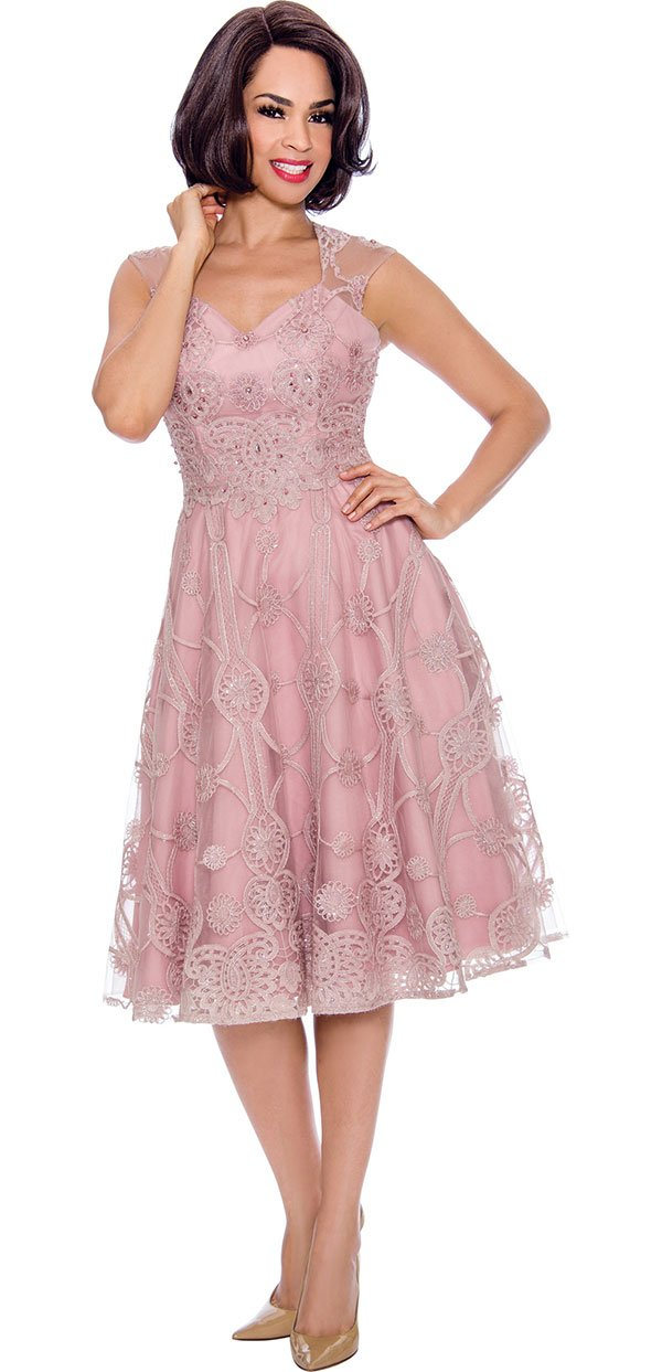 Annabelle 8730-Rose - Sleeveless A-Line Dress With Mesh And Lace Design