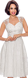 Annabelle 8730-OffWhite - Sleeveless A-Line Dress With Mesh And Lace Design