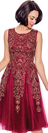 Annabelle 8732-Burgundy - Sleeveless A-Line Dress with Lace & Mesh Design