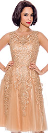 Annabelle 8732-Gold - Sleeveless A-Line Dress with Lace & Mesh Design