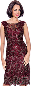 Annabelle 8734-Burgundy - Sleeveless Dress With Lace & Shoulder Applique Detail