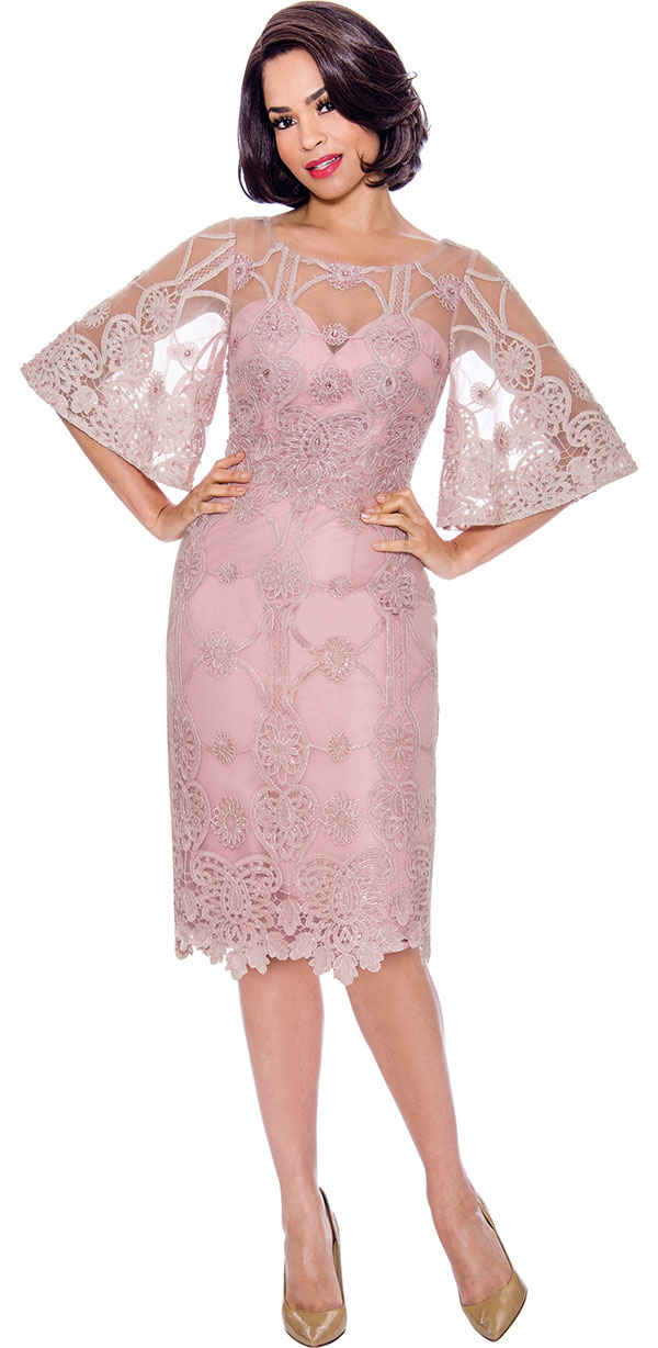 Annabelle 8735 - Bell Sleeve Dress With Lace Illusion Detail Design