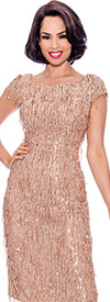 Annabelle 8736 - Cap Sleeve Dress With Fringe Texture Design