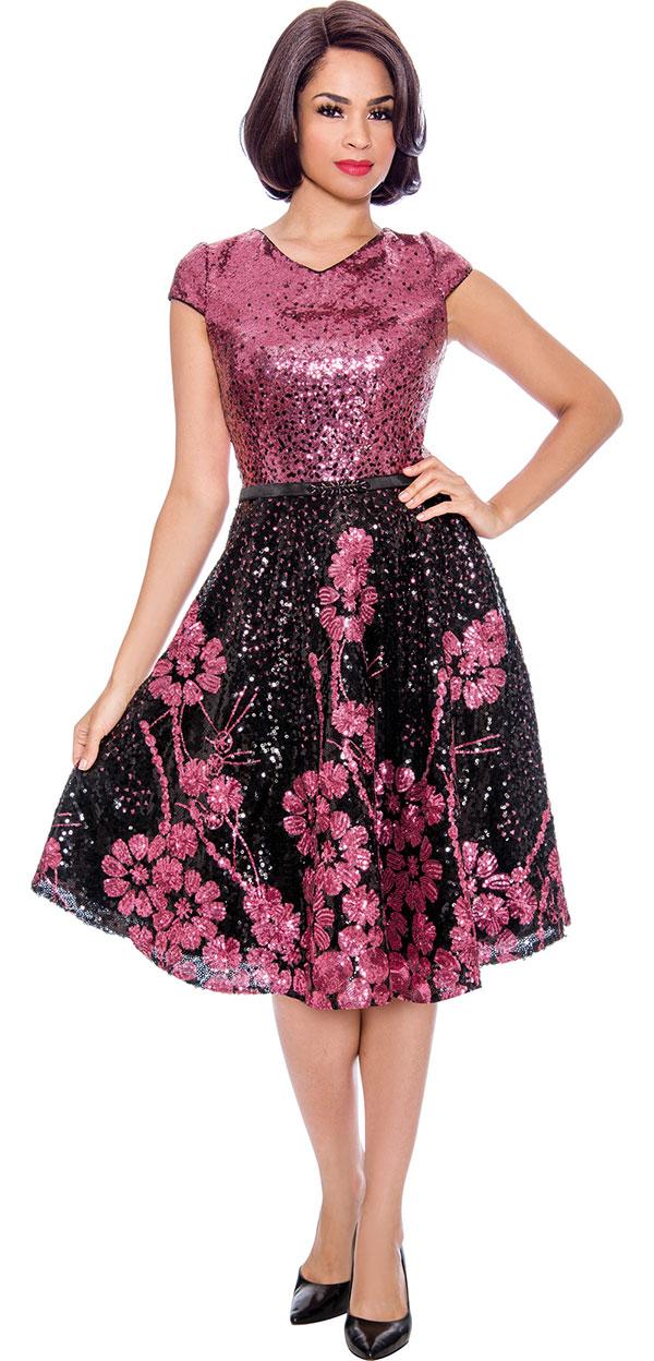 Annabelle 8738 - Floral Design Cap Sleeve Dress With Short Vee Neckline