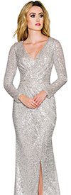 Annabelle 8739 - Longsleeve Floor Length Dress With Vee Neckline