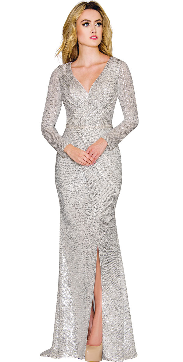 Annabelle 8739 - Longsleeve Floor Length Dress With Vee Neckline