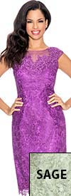 Clearance Annabelle 8566 Lace Adorned Sleeveless Dress