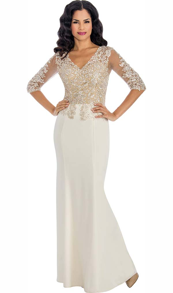 Annabelle 8590 Half Sleeve Fit & Flared Dress With Lace Applique Bodice