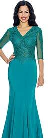 Annabelle 8622-Teal Half Sleeve Vee Neckline Fit and Flare Floor Length Dress