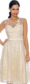 Annabelle 8631-Ivory - Sleeveless Tulle Dress With Lace Applique