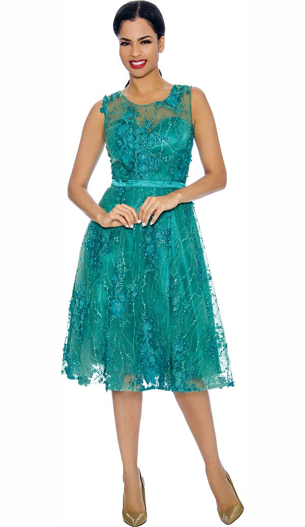 Annabelle 8631-Jade - Sleeveless Tulle Dress With Lace Applique