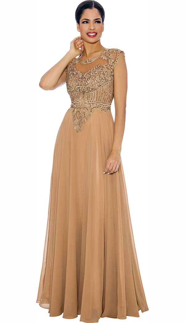 Annabelle 8634-Gold - Sleeveless Pleated Dress With Lace Applique
