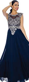 Annabelle 8634-Navy - Sleeveless Pleated Dress With Lace Applique