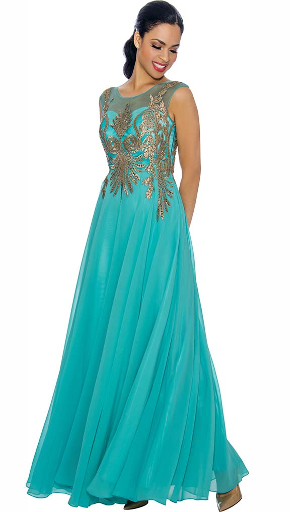 Annabelle 8635-Aqua Sleeveless Pleated Dress With Lace Applique