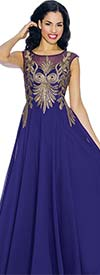 Annabelle 8635-Purple Sleeveless Pleated Dress With Lace Applique
