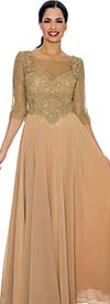 Annabelle 8649-Gold - Pleated Dress With Illusion Neckline & Lace Design Bodice